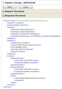 résultat de la transformation vers XML